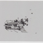 katrin coetzer_river boat_ink on cotton paper_114x192mm_framed_web