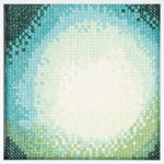 PIERRE LE RICHE. Gradient in blue and green, 2016. Cross-stitch embroidery on Aida cloth. 2500 stitched. 190 x 190mm. Framed