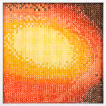 PIERRE LE RICHE. Gradient in orange and yellow, 2016. Cross-stitch embroidery on Aida cloth. 2500 stitched. 190 x 190mm. Framed