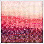 PIERRE LE RICHE. Gradient in pink and purple, 2016. Cross-stitch embroidery on Aida cloth. 2500 stitched. 190 x 190mm. Framed