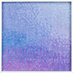 PIERRE LE RICHE. Gradient in purple and blue, 2016. Cross-stitch embroidery on Aida cloth. 2500 stitched. 190 x 190mm. Framed