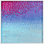 PIERRE LE RICHE. Gradient in purple and turquoise, 2016. Cross-stitch embroidery on Aida cloth. 2500 stitched. 190 x 190mm. Framed