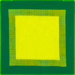 PIERRE LE RICHE. Tapestries in acid green, 2016. Acrylic yarn on tapestry mesh. 600 x 600 x 45mm - 2