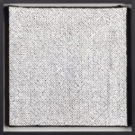 PIERRE LE RICHE. White on black, 2016. Cross-stitch embroidery on Aida cloth. 2500 stitched. 205 x 205mm. Framed