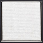 PIERRE LE RICHE. White on white, 2016. Cross-stitch embroidery on Aida cloth. 2500 stitched. 205 x 205mm. Framed